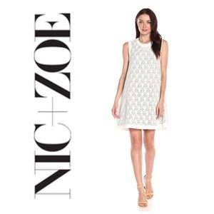 NWT NIC + ZOE Wander Lace Shift Milk White Dress M